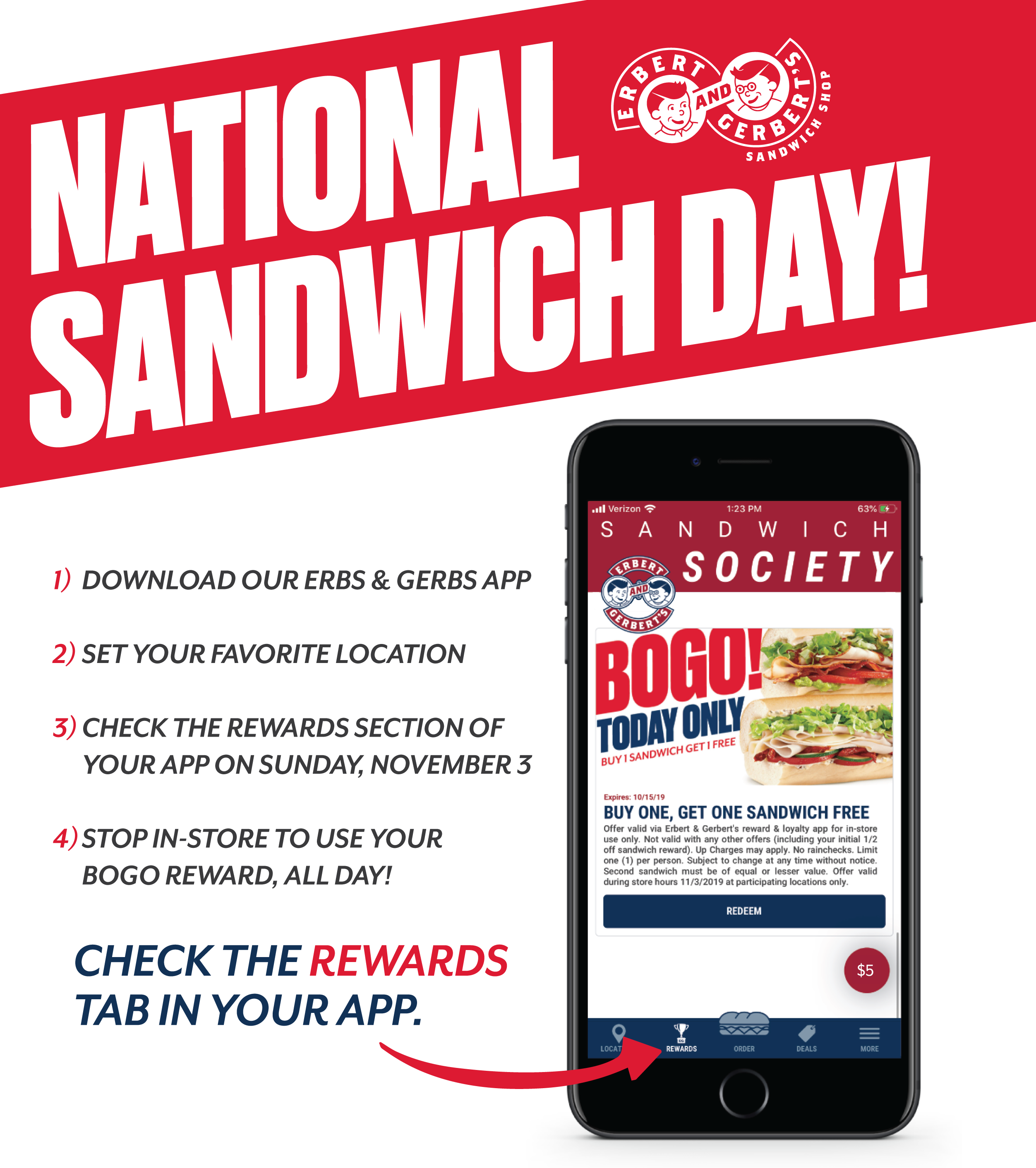 national sandwich day buy one sandwich get one free offer from erbert and gerberts