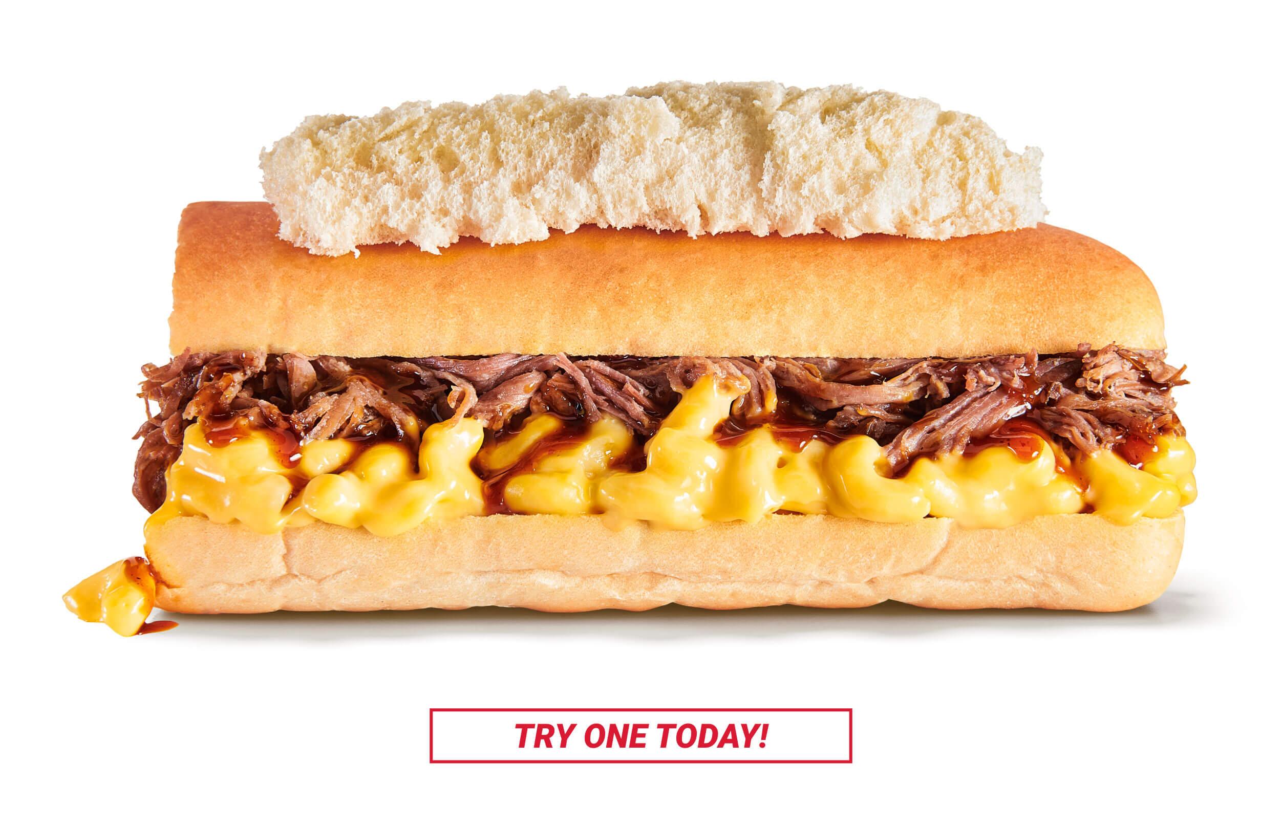 Erbert & Gerbert's Mac and Cheese BBQ Brisket Sandwich