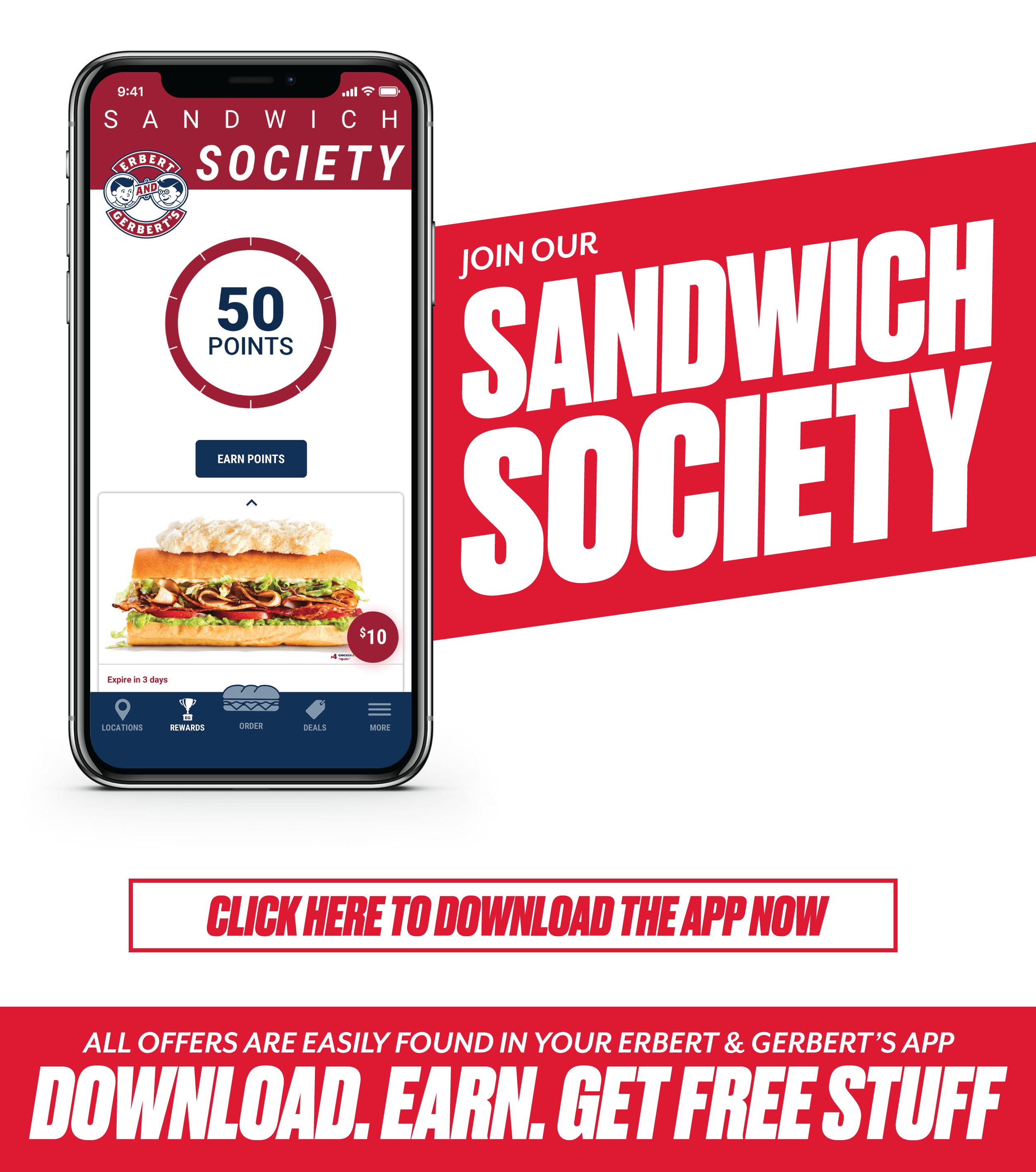 download the erbert & gerberts app to join the sandwich society